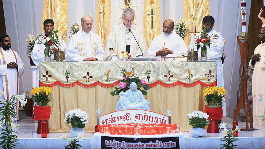 Archbishop Lépine celebrated a Mass with the Tamil community of Montreal