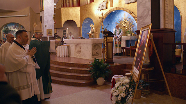 Archbishop Lépine at Notre-Dame-du-Mont-Carmel Parish in Saint Leonard, Montreal.