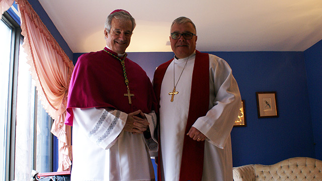Archbishop Lépine and Bishop Pryse before the celebration