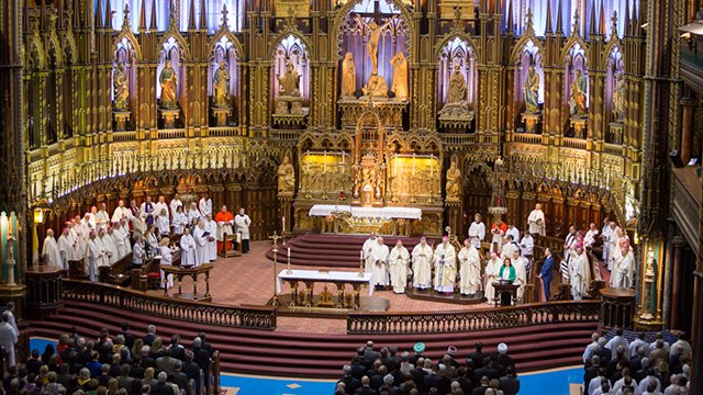The Solemn Mass of the 375th anniversary of the founding of Montreal was celebrated at Notre-Dame Basilica (Photo: Notre-Dame Basilica)