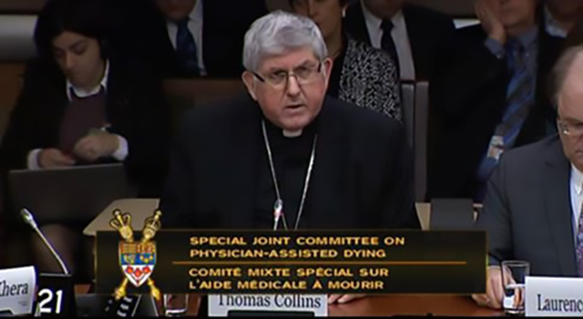 Speaking notes by Cardinal Thomas Collins of presentation before the Special Joint Committee on Physician-Assisted Dying