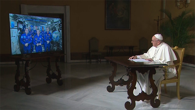 Pope Francis speaking live to the Astronauts.