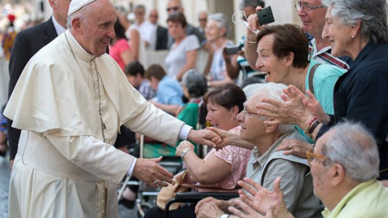 Pope Francis meeting handicaped faithful, St. Peter's Square, February 22, 2018.