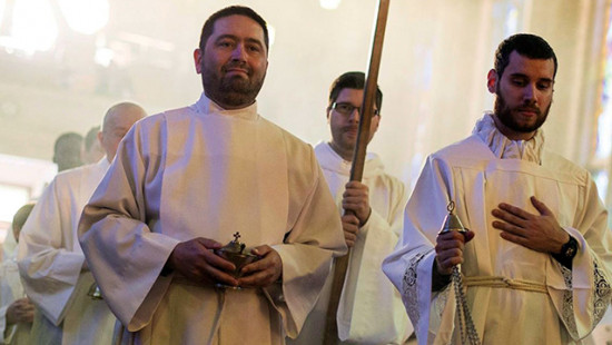 Seminarians during a Mass